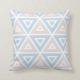 Taupe Blue Triangle Geometric Pattern Cushion