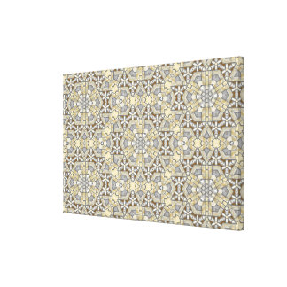 Taupe Brown Gray Beige Mosaic Kaleidoscope Pattern Canvas Print