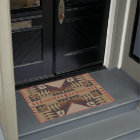 Taupe Brown Red Black Eclectic Ethnic Look Doormat