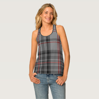 Taupe Charcoal Grey Black Red Giant Tartan Plaid Singlet
