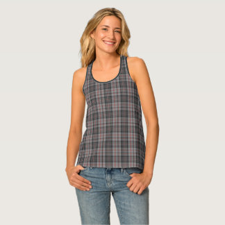 Taupe Charcoal Grey Black Red Small Tartan Plaid Singlet