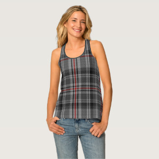 Taupe Charcoal Grey Black Red Tartan Plaid Singlet