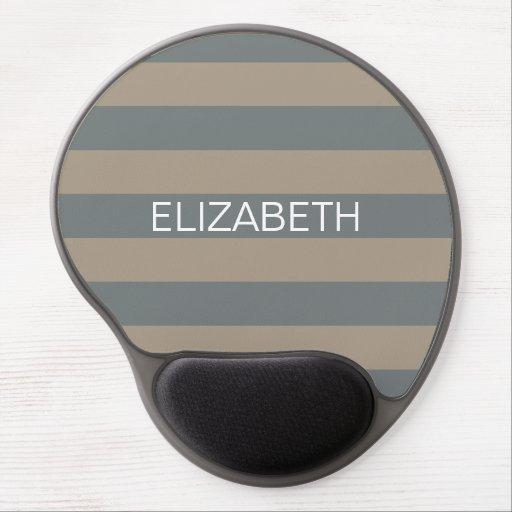 Taupe Charcoal Horiz Preppy Stripe Name Monogram Gel Mousepad