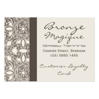 Taupe Damask Business Customer Loyalty Cards Pack Of Chubby Business Cards