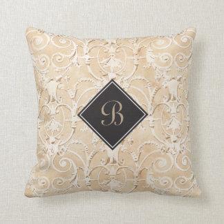 Taupe Damask Monogram Cushion