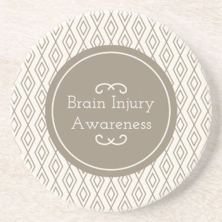 Taupe Diamond Pattern Brain Injury Awareness Coaster