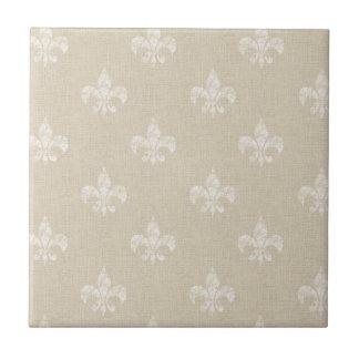 Taupe Fleur de Lis Ceramic Tile