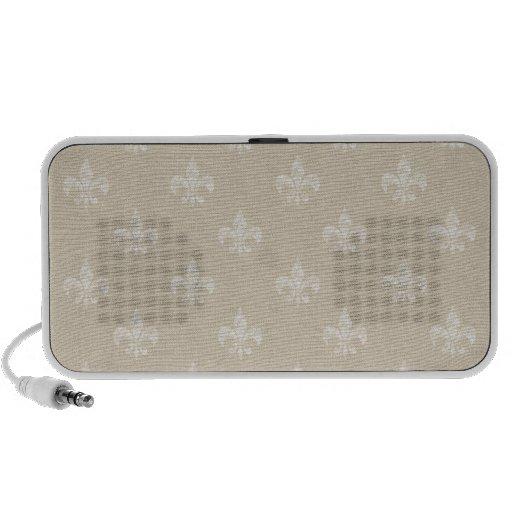 Taupe Fleur de Lis Laptop Speakers