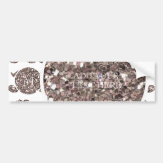 Taupe Glitter Mustache Pattern Your Monogram Bumper Stickers