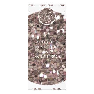 Taupe Glitter Mustache Pattern Your Monogram Custom Rack Card