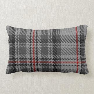 Taupe Grey Black Red Giant Tartan Plaid Lumbar Pillow