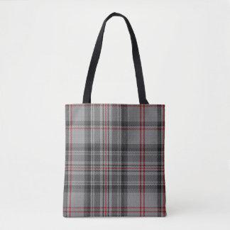 Taupe Grey Black Red Tartan Plaid Tote Bag