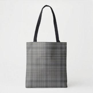 Taupe Grey Black Tartan Plaid Tote Bag