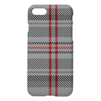 Taupe Grey Charcoal Red Black Tartan Plaid iPhone 8/7 Case