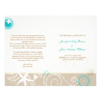 Taupe Ivory Teal Beach Wedding Programs (BiFold) Flyer