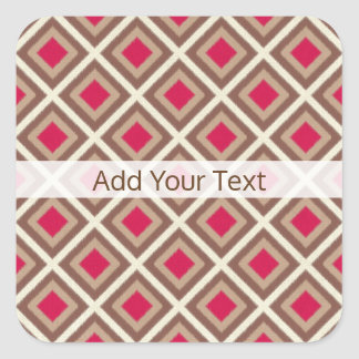 Taupe, Light Taupe, Hot Pink Ikat Diamonds STaylor Square Sticker