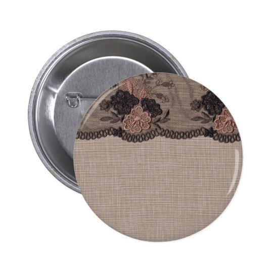 Taupe Linen, Pink and Black Lace 6 Cm Round Badge