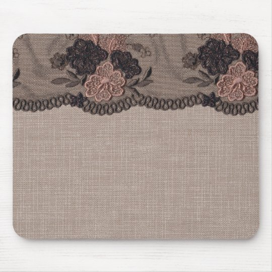 Taupe Linen, Pink and Black Lace Mouse Pad