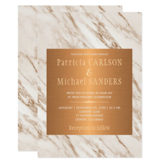Taupe marble copper tan trendy elegant wedding card