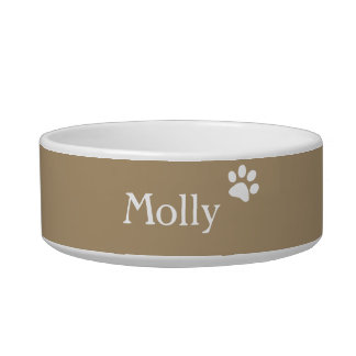 Taupe    Personalized Cat Dish Pet Water Bowl