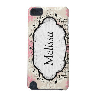 taupe pink and ecru ivory damask design pattern iPod touch (5th generation) cases