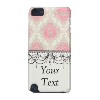 taupe pink and ecru ivory damask design pattern iPod touch 5G cases