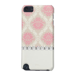 taupe pink and ecru ivory damask design pern iPod touch 5G covers