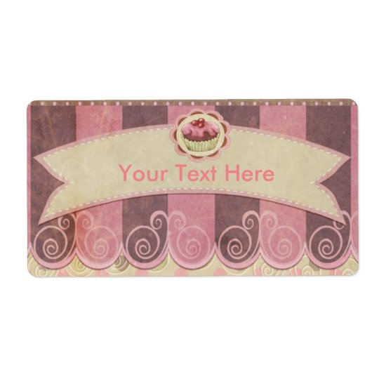 Taupe Pink Cupcake Bakery Shipping Label