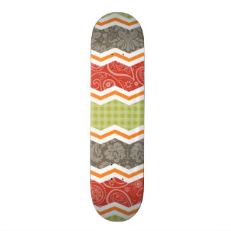 Taupe, Red, Green, and Orange Cute Country Skateboard Deck