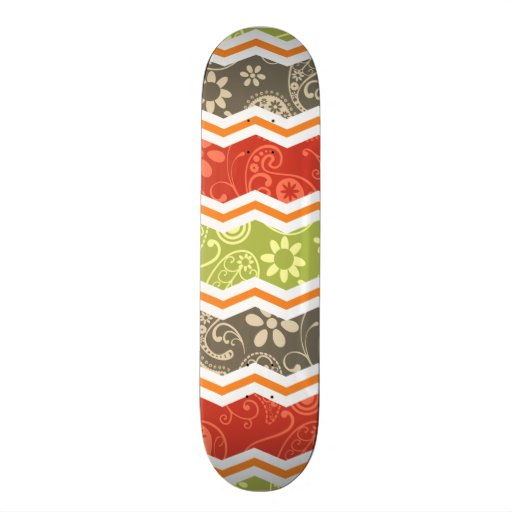 Taupe, Red, Green, and Orange Paisley Chevron Skateboard