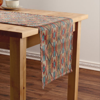 Taupe Red Orange Teal Eclectic Ethnic Art Look Long Table Runner