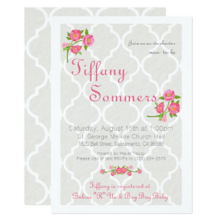 Taupe & Roses Quatrefoil Baby Shower Invitation