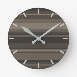 Taupe stripes round clock