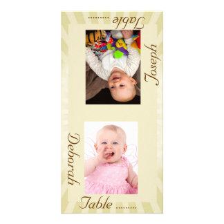 Taupe Sunburst Bride & Groom Photo Table Card