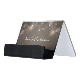 Taupe Tan Sparkle Lights Chic Elegant Trendy Desk Business Card Holder