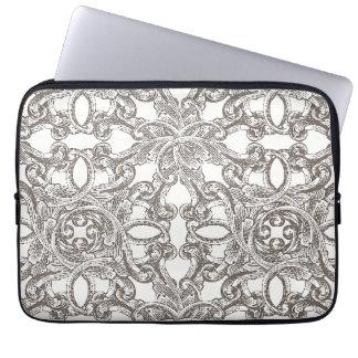 Taupe Vintage Damask Pattern Laptop Sleeve