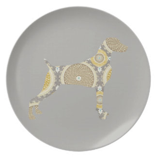 TAUPE WEIMARANER & AMBER MEDALLION PLATE