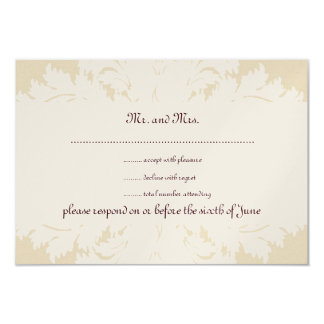 Taupe, White and Gold Damask RSVP Cards Invitation