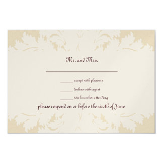 Taupe, White and Gold Damask RSVP Cards Personalized Invites