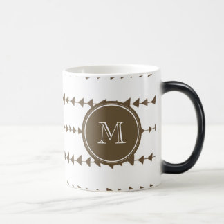 Taupe White Aztec Arrows Monogram Magic Mug