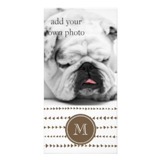 Taupe White Aztec Arrows Monogram Picture Card