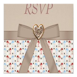 Taupe Wonderland Flamingos RSVP Wedding Card