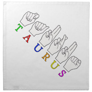 TAURUS ASL FINGERSPELLED NAME ZODIAC SIGN NAPKIN