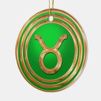 Taurus Astrological Sign Round Ceramic Decoration