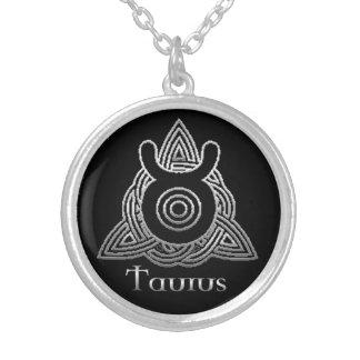 Taurus Birth Sign Celtic Knot Zodiac Necklace Round Pendant Necklace
