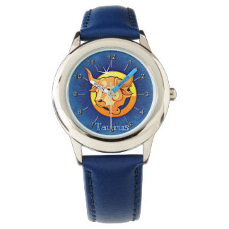 Taurus blue yellow wrist watch