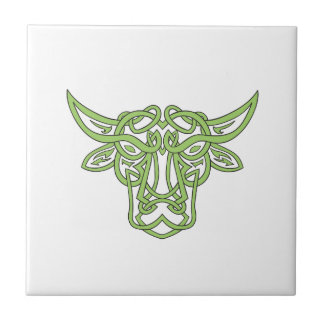 Taurus Bull Celtic Knot Ceramic Tile