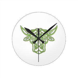 Taurus Bull Celtic Knot Round Clock