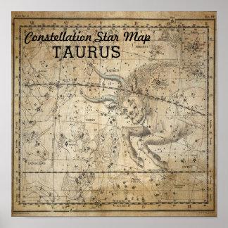 Taurus Bull Constellation Star Map May Poster