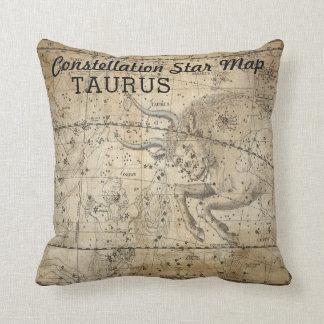 Taurus Bull Constellation Star Map Vintage Pillow